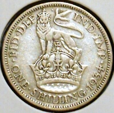 British Silver Shilling - 1934 - King George V - $1 Unlimited Shipping