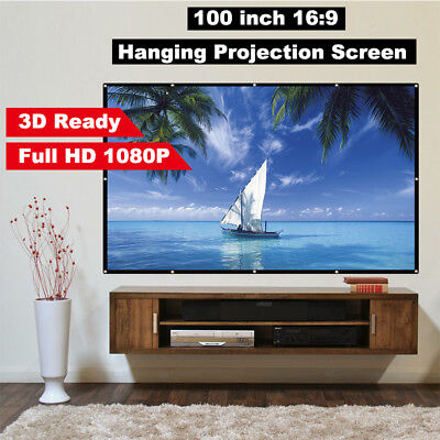 """100"""" 16:9 4K 3D 1080P HD Foldable Projector Screen Home Cinema Movie Projection"""