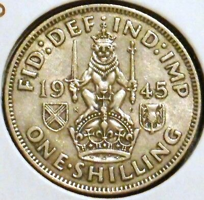 British Silver Shilling - 1945-S - King George VI - $1 Unlimited Shipping