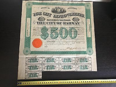US $500 Bond w/ $17,5 Coupons City of RAHWAY NJ 1865 Bill to NATIONAL BANK. XF