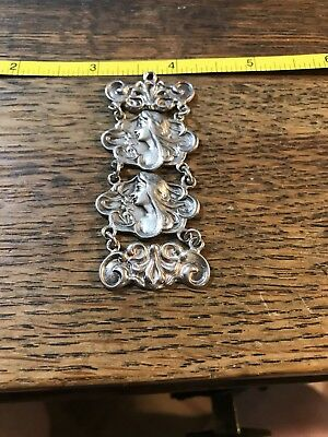 Antique Vintage Art Nouveau Sterling Silver Watch Fob Lady face date 1902