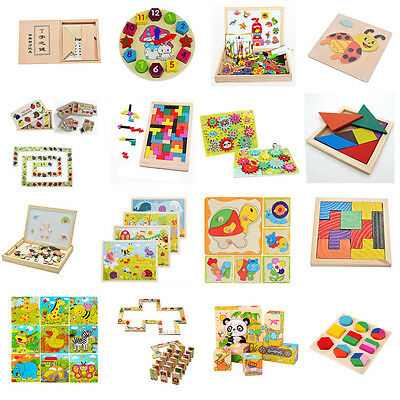 16 Style Children Play Wood Toy Wooden Tangram Brain Teaser Puzzle Tetris Game F