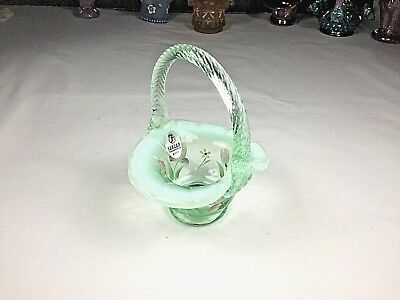 Fenton Willow Green Opalescent Miniature Basket With Hand-Painted Floral Designs