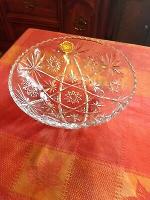 Anchor Hocking EAPC Early American Prescut Star of David Aqua Glass Bowl Dish 7""