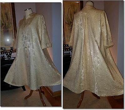 Ivory Satin Brocade Circle Swing Opera Coat Cape M-XL Art Deco VTG 1940 50s MINT