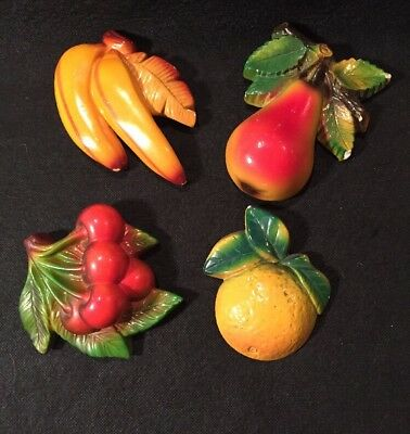 Four (4) Chalkware  Fruit Wall Hangings - Vintage!