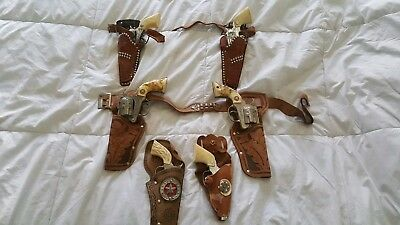 Vintage  Toy Cap Guns and Holsters NO RESERVE (hubley)