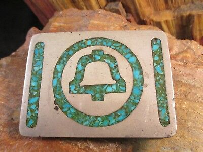 Pacific Bell Silver Turquoise Belt Buckle