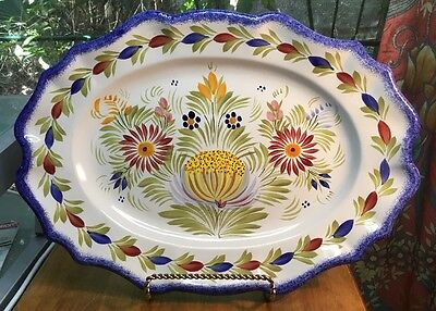 "Vintage QUIMPER Large Scalloped Wall Plaque / Platter 17.75"" long!"