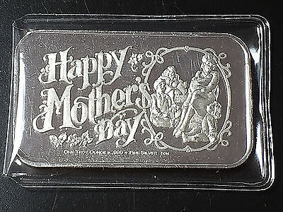 Happy Mother 's Day 1 Troy oz .999 Fine Silver Art Bar California Crown Mint