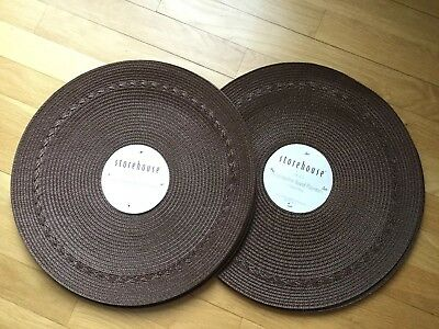 """Storehouse set of 8 15"""" round brown polypropylene placemats NWT"""