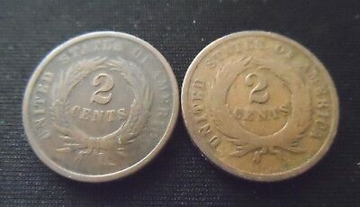 Lot of 2 - US Two Cent Pieces 2c - 1864 & 1865
