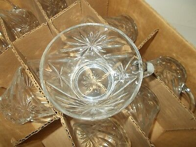 12 Vintage STARBURST STYLE PUNCH BOWL CUPS Anchor Hocking STAR OF DAVID Glass