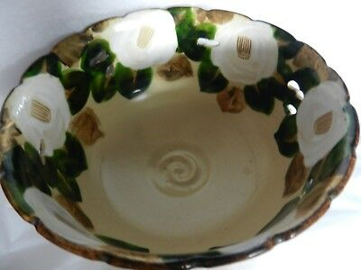 Ceramic Bowl  old Japanese Asian Pottery has pierced areas bowl flowers quality