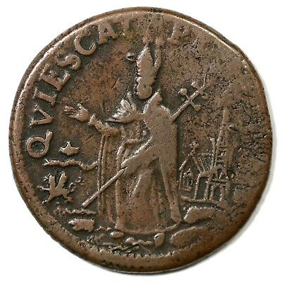 (c 1670) St. Patrick's Farthing Colonial Copper Coin 1/4d
