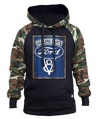 Men's Ford Genuine Parts V8 Camo/Black Raglan Hoodie Sweater Trucks Cars Racing