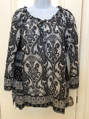 Women's Lucky Brand Black & White Print, Peasant Style Blouse, Shirt, Top, Large