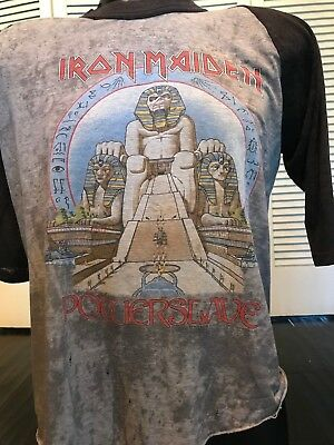 Rare VTG 84 Iron Maiden Powerslave Tour Shirt Sz XL Rock Dio Death Metal Slayer