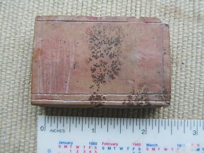 Antique Miniature Folk Art Carved Stone Book with forest scene very early