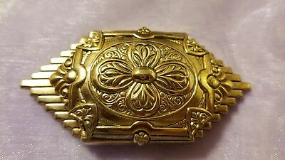 Vintage brooch inspired French art deco etched in antiqued gold tone. VERY NICE