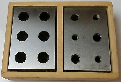 Suburban Tools Matched Pair of 123 Blocks 11 Holes B-123-H11-M, Wooden Box Nice