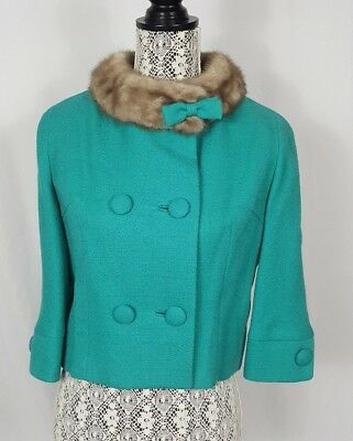 True Vintage 60s Teal Wool Coat Fur Trim Collar Short 3/4 Sleeve Bingley Mill