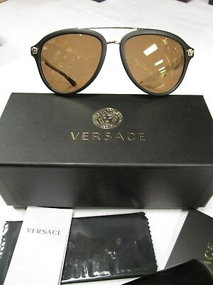 Versace VE4341 5122/2T  58/18 140 Black/Gold Mirrored Polarized  BRAND NEW !
