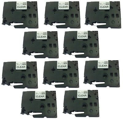 10 PK Black on Clear Label Tape for Brother TZ-131 TZe131 P-Touch PT-D210 12mm