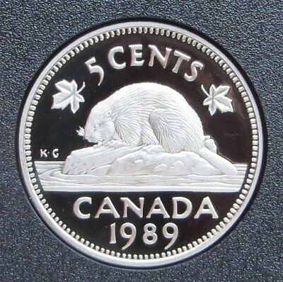 1989 Canada 5 Cent Nickel - Beaver - Proof Mint condition