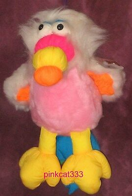 Vintage Dan Dee Toucan Parrot Bird~Nylon Beak Wings Feet~Plush Fur Pink Body~Nwt