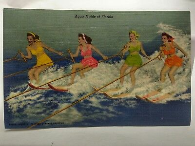 Antique Linen Florida Post Cards LOT of 3 Women and Watersports