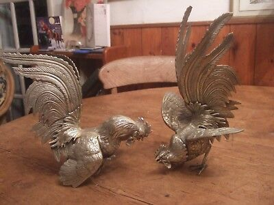 Magnificent Antique Pair Of Silver Plated French Fighting Cockerels Circa 1880