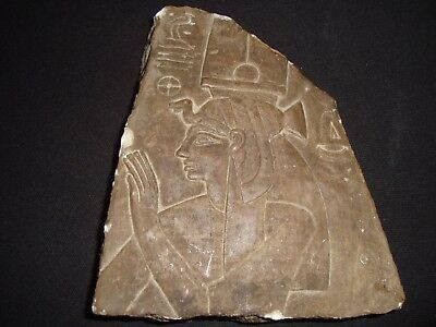 Rare Antique Ancient Egyptian Craved Cleopatra Wall Fragment Relief 1275-1216 BC