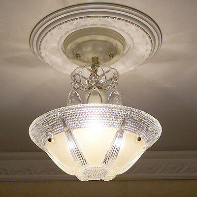 146b Vintage art Deco CEILING LIGHT lamp chandelier fixture glass shade cream