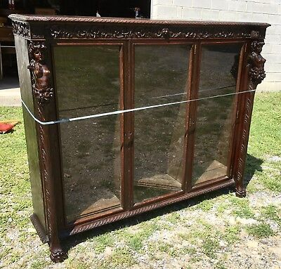 R. J. Horner 3 Door Carved Lady Oak Bookcase