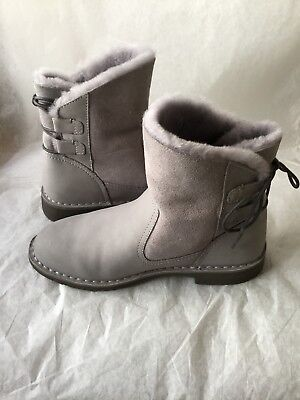 a584ddfb875 UGG NAIYAH MINI Lace Up Back Boot PENCIL LEAD Grey Leather Size 7.5 NIB