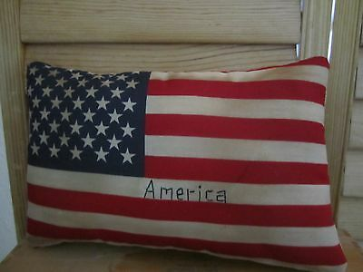 Primitive Flag Pillow - Americana - stitched America -