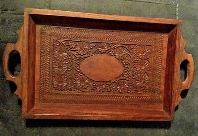 Vintage Solid Wood Hand Carved Double Handled Rectangle Serving Lap Tray
