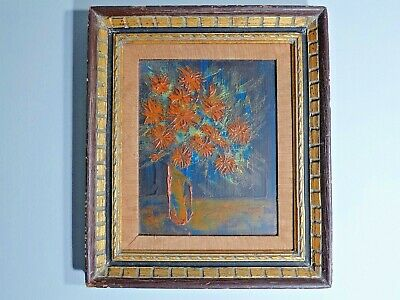 Mid Century Floral Still Life by Kendel Original Painting on Board Signed Framed