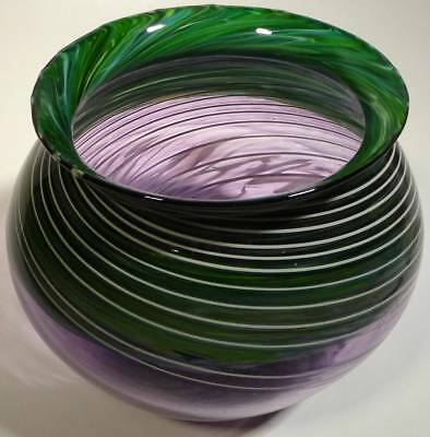 "9"" Hand Blown Glass Art Bowl, Dirwood Glass, Incalmo & Cane, Purple Green White"