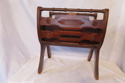 Vintage Antique Cherry Wood Magazine Newspaper Rack Stand Holder Spindle Ornate