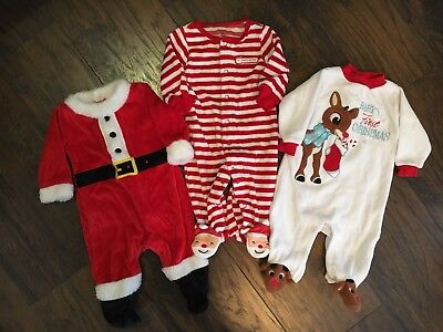 Baby Lot Of Three Christmas One Pieces In Size 3 Months Carter's & Rudolph