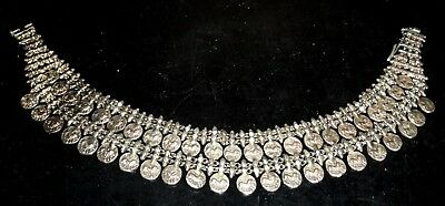 Antique Silver Arabic Writing Necklace with Coins 18 19th C RARE 171g  6oz