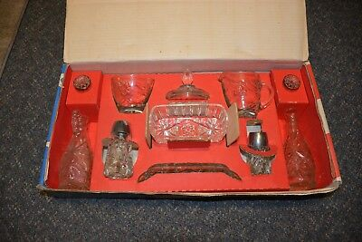 Early American Prescut 11 Piece Table Set Anchor Hocking Orig.Box-NICE!