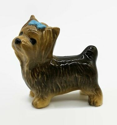 Vintage Hagen Renaker Yorkshire Dog w/ Bow Miniature Figure Animal Figurine