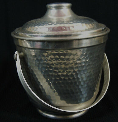 """Vintage Hammered Aluminum Ice Bucket Double Walled Italy Mid Century 8""""T to Rim"""