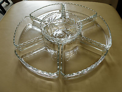 7 Piece Set Anchor Hocking EAPC Prescut Relish Lazy Susan Glass Inserts + Bowl