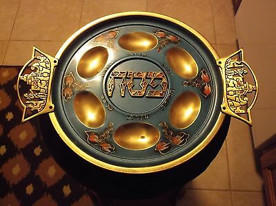 Antique Brass Jewish Passover Plate Israel 1950s 1960s Wall Decor Vintage Art