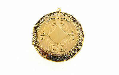 Vintage Brass Victorian Bold Embossed Design Engrave-able Round Locket Pendant