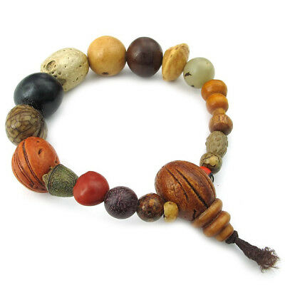 Men's Ladies Bracelet, Tibetan Buddhist Beads Prayer Mala, wood L7Y9